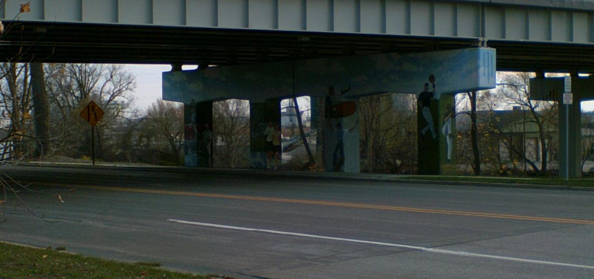 Baseball under the Poseyville overpass.