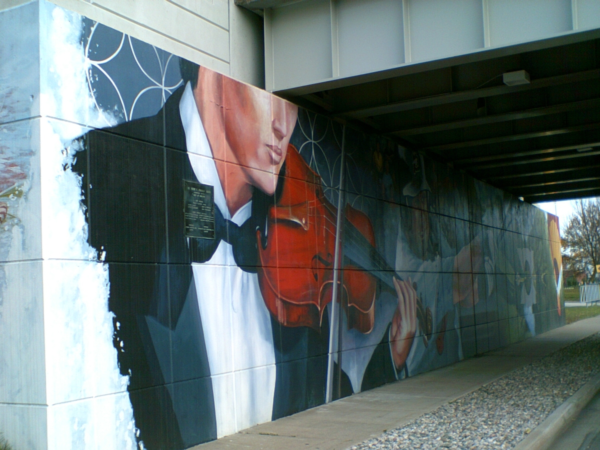 Violinist under the Poseyville Road overpass.