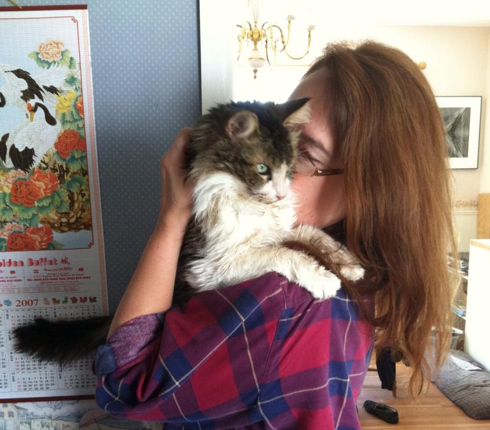 Me and my rescue/used cat, Gizmo, on his last full day.