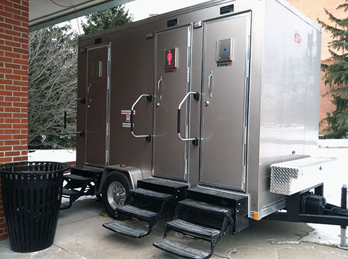 Chic and shiny portable restrooms.
