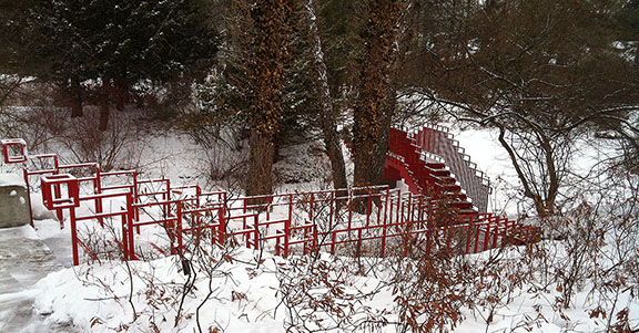 One of Dow Gardens' iconic red bridges.