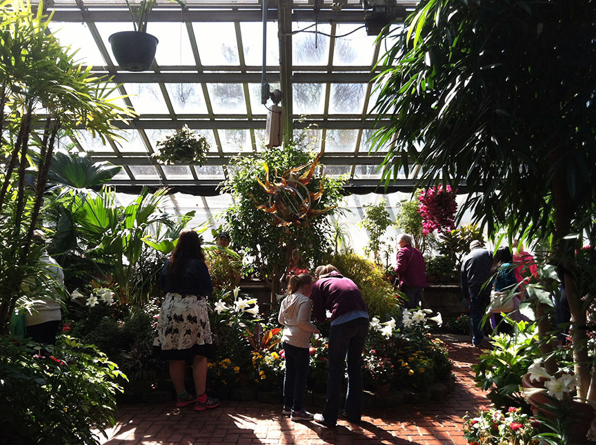 Inside the conservatory, which is filled with tropical plants year round and has a glass ceiling and walls