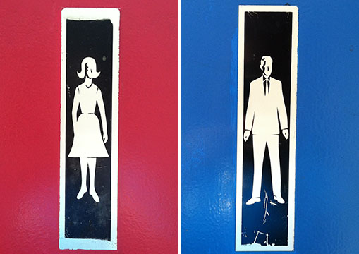 These may be the most retro restroom signs I've seen.